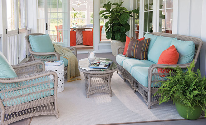 DANIEL ISLAND, SC - Sunbrella furniture and awning fabric made by Glen Raven, Inc is used throughout the 2013 Coastal Living Magazine Idea Home on Daniel Island in Charleston, S.C. Product and lifestyle photography by Steve Exum of exumphoto.com.